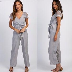 Pinkblush Grey Lace Accent Sash Tie Wrap Jumpsuit